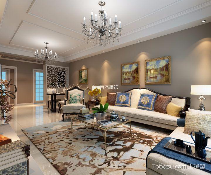 瑶海万达华府118平米现代简欧风格三居室装修效果图