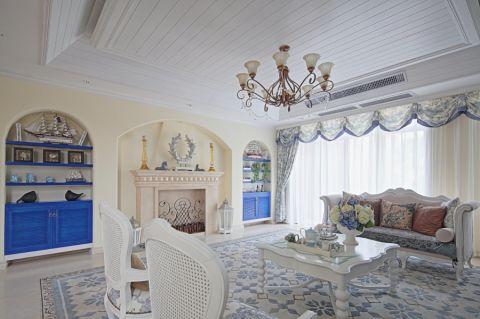 青南美湾95平地中海风格三居室装修效果图