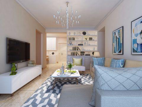 绿地海德公馆现代简约风格90平米二居室装修效果图