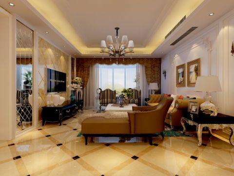 绿地塞纳公馆170平米三室两厅简欧风格装修效果图