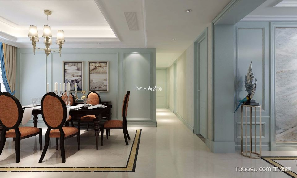 无锡东城中央府简欧风格三室两厅装饰效果图