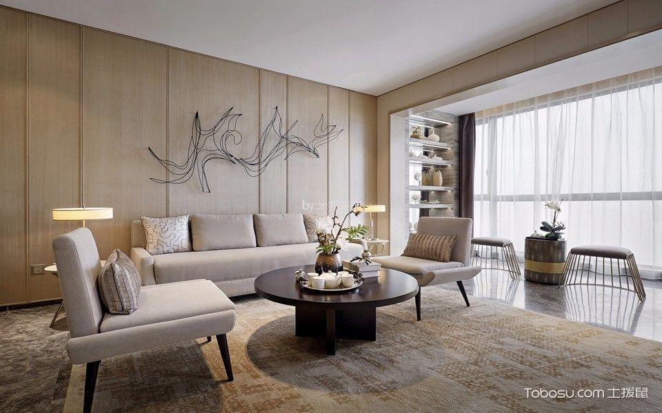绿洲白马公馆143平现代风格三居室装修效果图