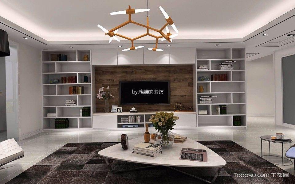 客厅 电视柜_130平米现代简约风格套房装修效果图