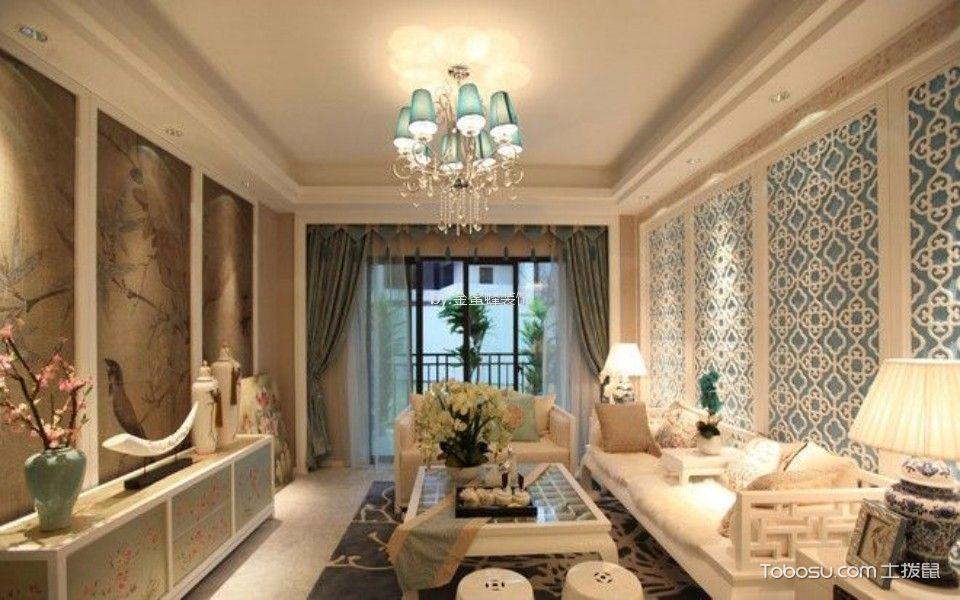 华润二十四城98平米新中式风格二室二厅一卫装修效果图