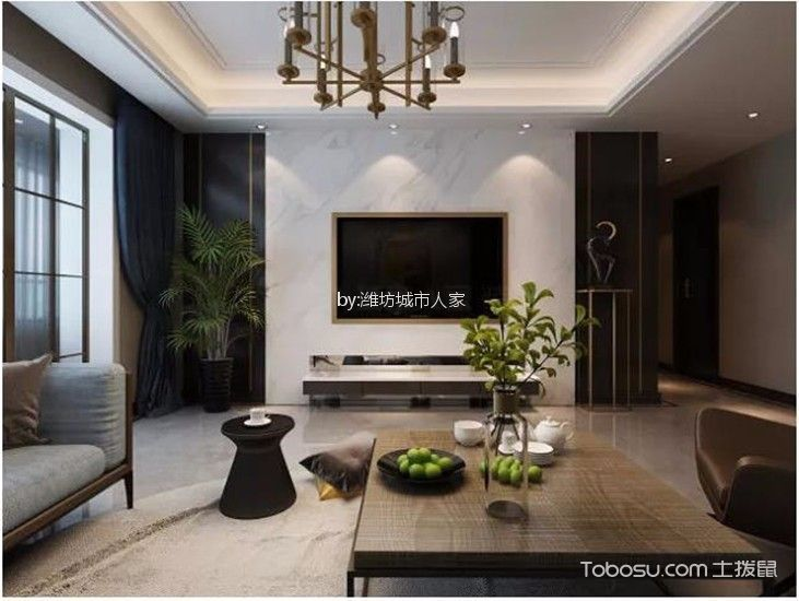大观天下160平米现代风格三居室装修效果图