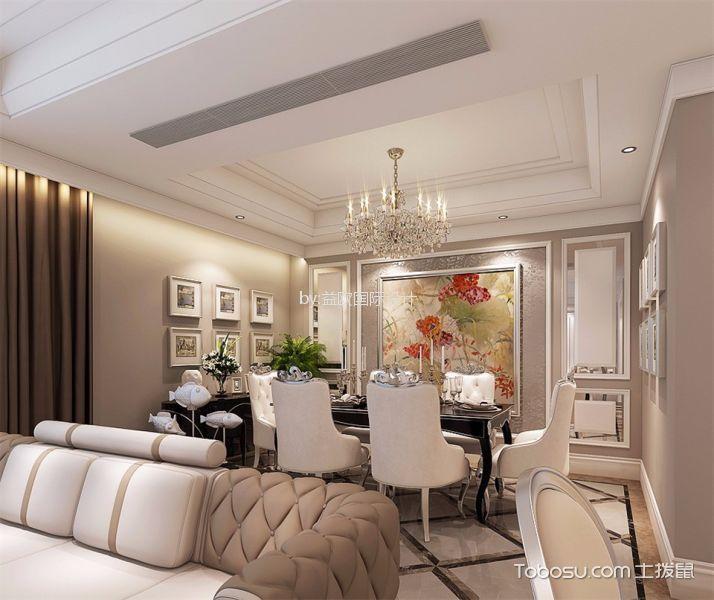 中兴花园136平欧式风格三居室装修效果图