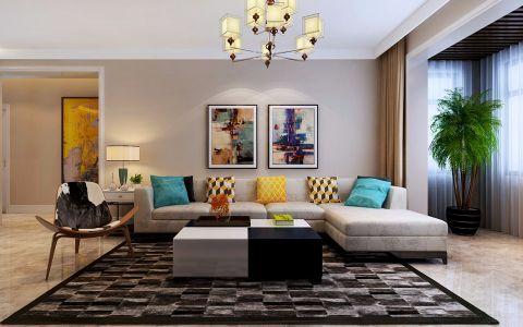 现代简约客厅l型沙发装饰设计图片