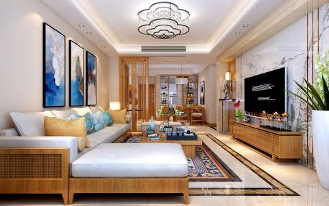 美好彩色l型沙发装修图片