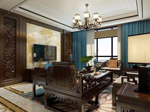 阳光揽胜139平米古典中式风格大户型装修效果图