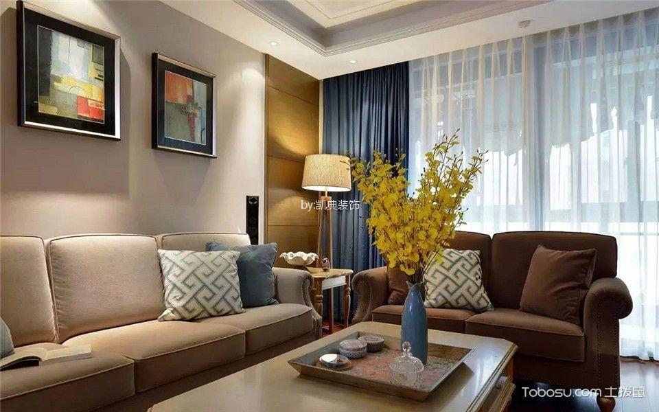 客厅 窗帘_长信花园118平欧式三室两厅两卫装修效果图