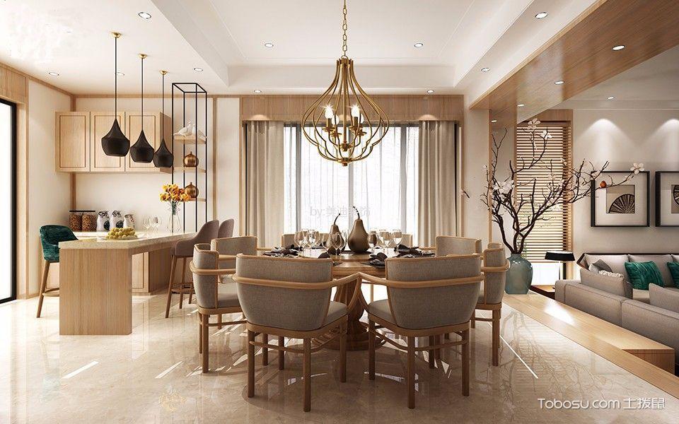 餐厅米色灯具新中式风格装潢设计图片