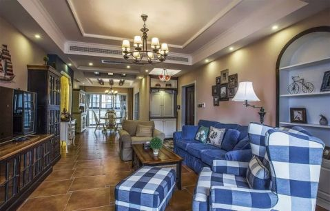 人居东御佲家130平美式三居室装修效果图