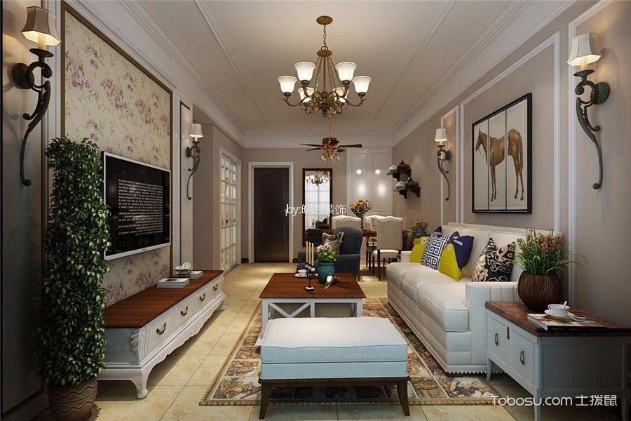华地润园110平米美式风格三居室装修效果图