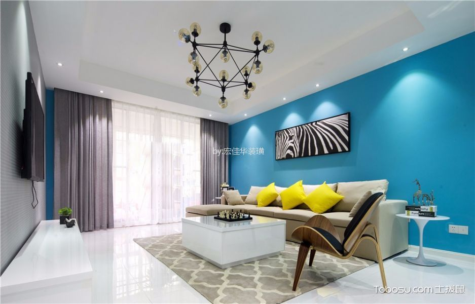 玉兰广场130平米现代简约风格三居室装修效果图
