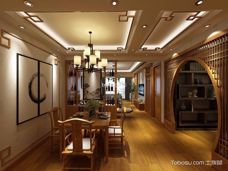东旭骏城新中式风格110平米四居室装修效果图