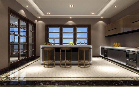 清新素丽咖啡色美式厨房装修效果图