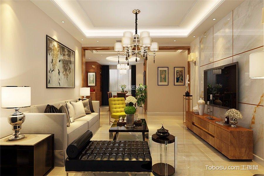 琥珀五环城120平现代风格三居室装修效果图
