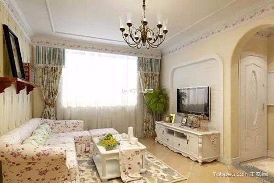 87平米田园风格二室二厅装修效果图
