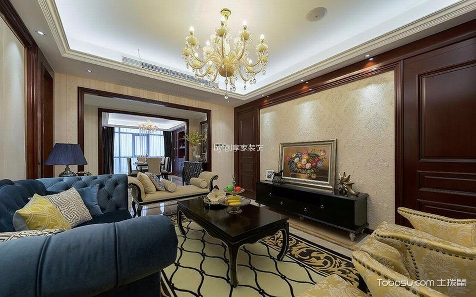 绿地悦澜湾A户型124平欧式风格三居室装修效果图