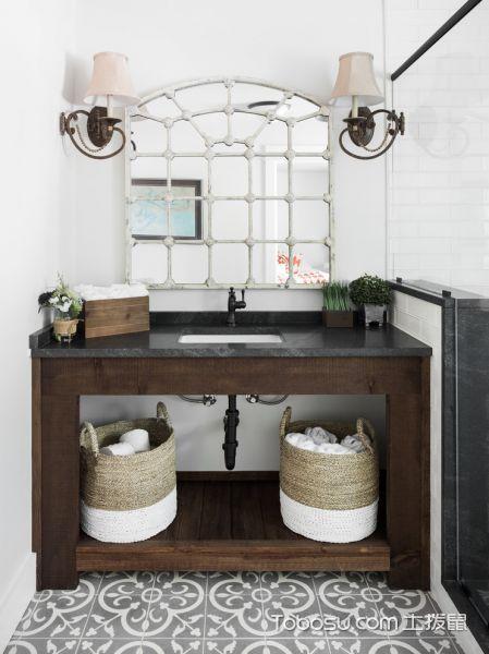 浴室咖啡色洗漱台混搭风格装修图片