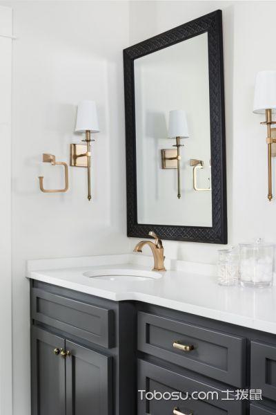 浴室灰色洗漱台混搭风格装修设计图片