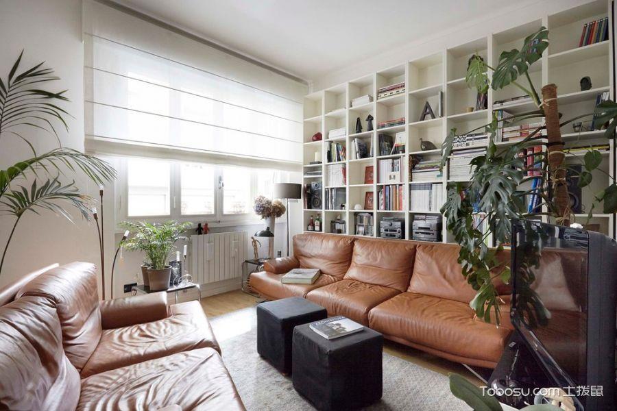 客厅白色书架现代风格装饰效果图
