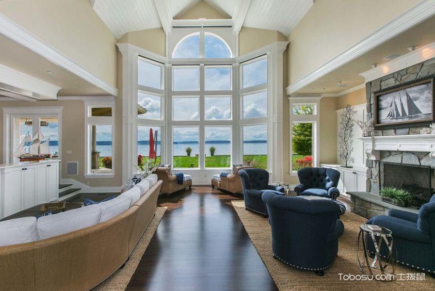客厅白色落地窗美式风格装潢图片
