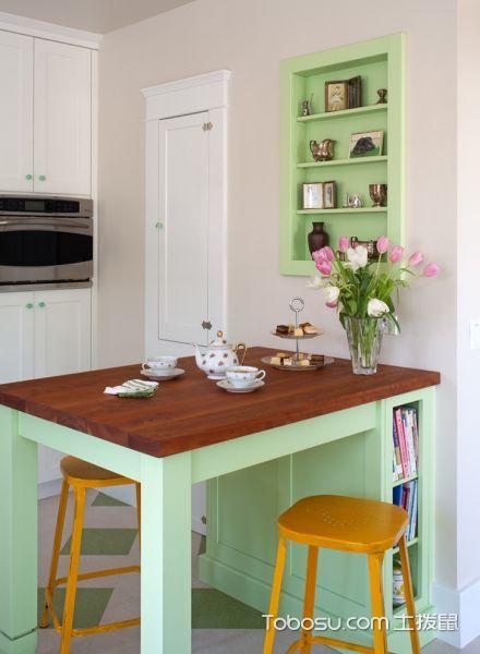厨房绿色餐桌美式风格装潢设计图片