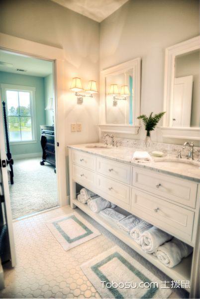 浴室白色洗漱台美式风格装修效果图