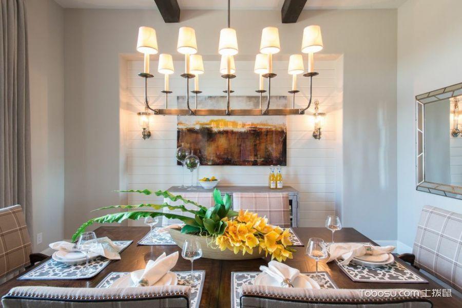 餐厅白色灯具美式风格装潢效果图