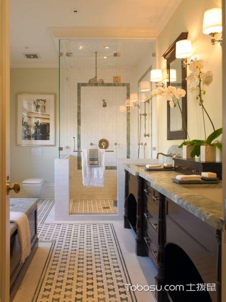 浴室白色灯具美式风格装潢效果图