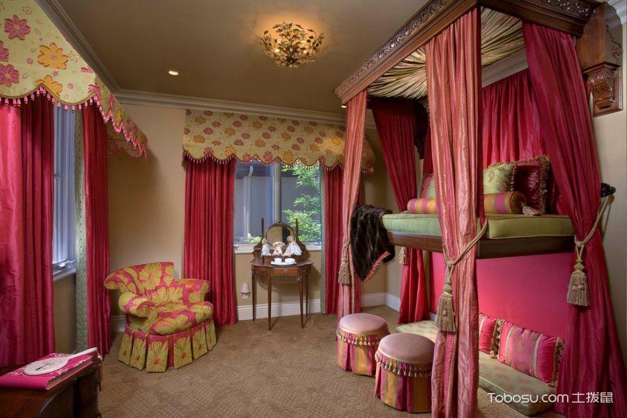 儿童房红色窗帘混搭风格装潢设计图片