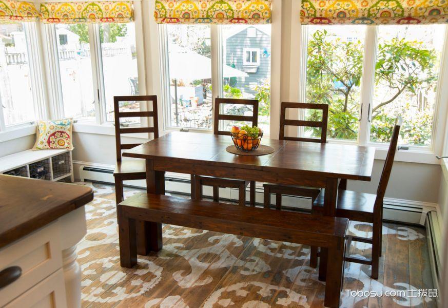 厨房咖啡色餐桌美式风格装潢设计图片