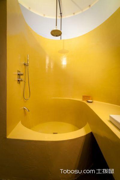 浴室黄色背景墙现代风格装潢效果图