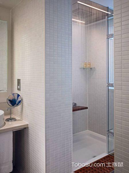 浴室白色背景墙现代风格装饰设计图片