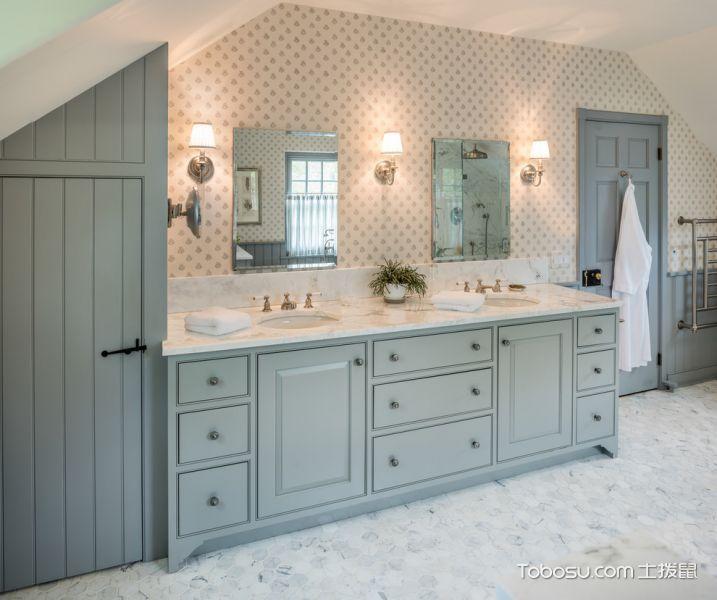 浴室黄色背景墙美式风格装潢效果图
