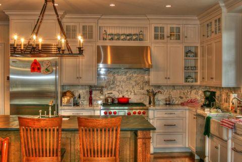 厨房美式风格效果图大全2017图片_土拨鼠浪漫个性厨房美式风格装修设计效果图欣赏