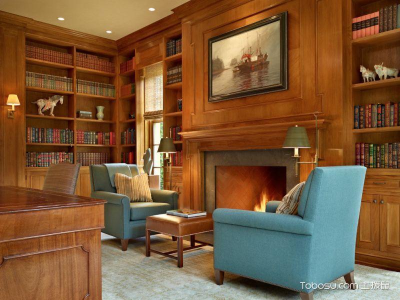 书房蓝色沙发美式风格装饰效果图