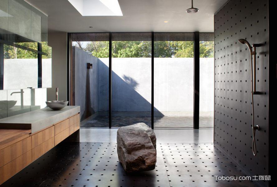 卫生间黑色推拉门现代风格装潢效果图