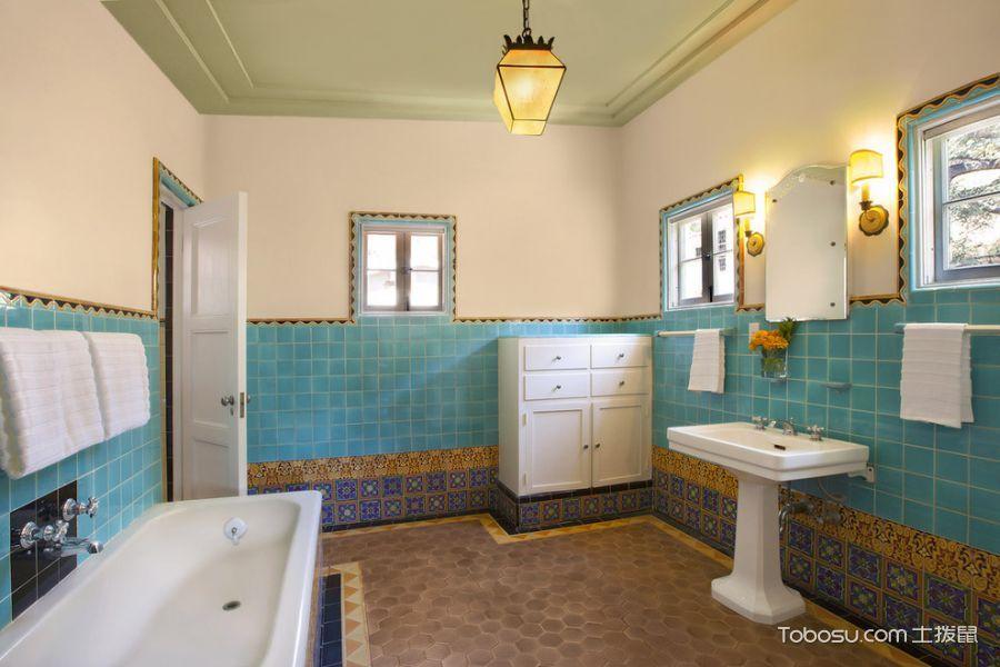 浴室黄色灯具美式风格装饰设计图片