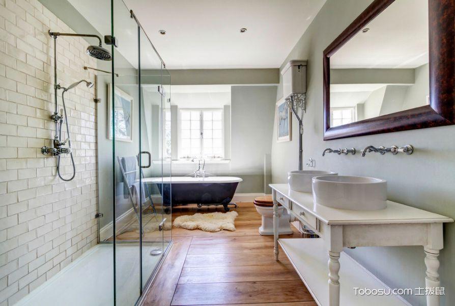 浴室白色背景墙美式风格装修效果图