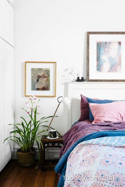 卧室白色照片墙混搭风格装修图片