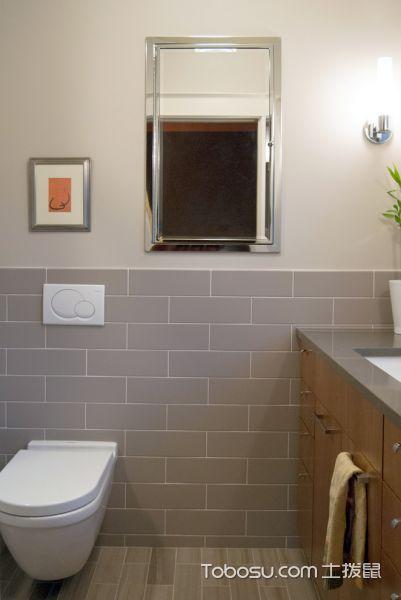 卫生间灰色地板砖现代风格效果图