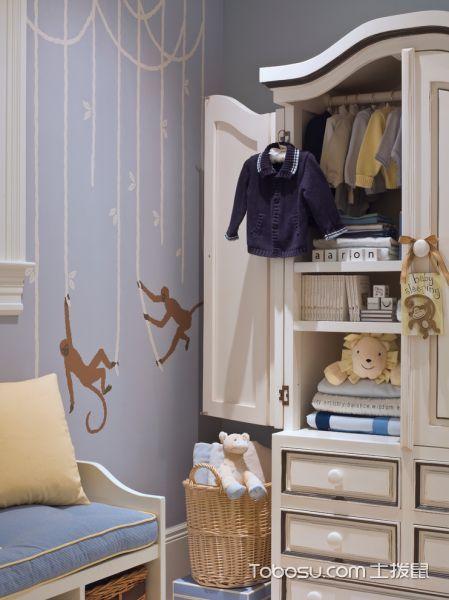 儿童房白色衣柜美式风格装饰图片