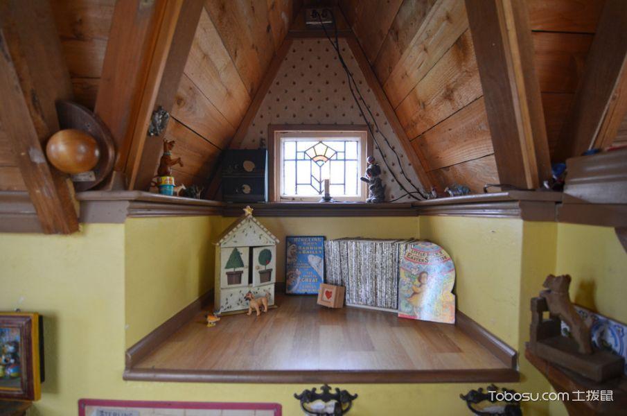 儿童房黄色榻榻米混搭风格装饰图片