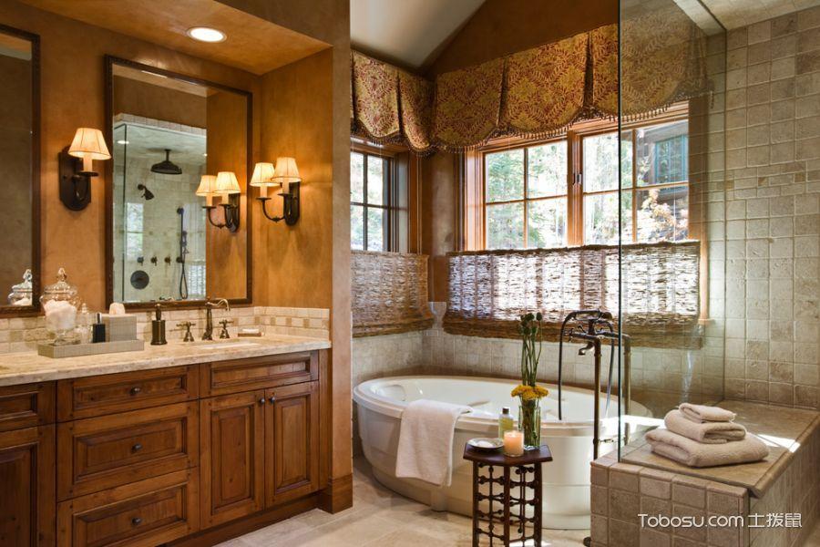 浴室白色地砖美式风格装潢设计图片