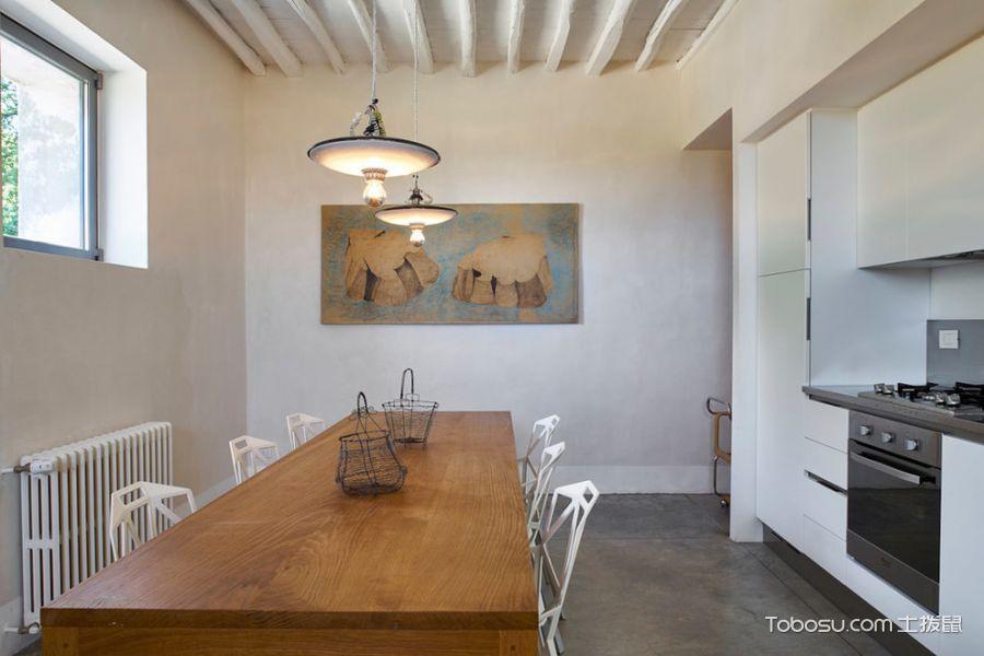 厨房咖啡色餐桌混搭风格装潢设计图片