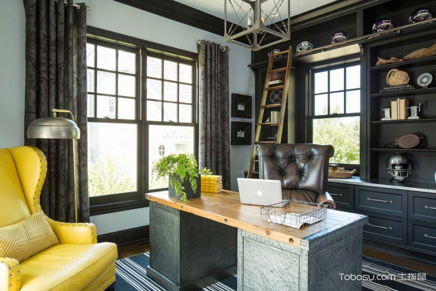 书房咖啡色书桌美式风格装饰效果图