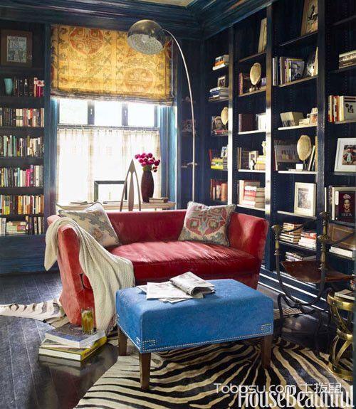 书房红色沙发混搭风格装饰图片