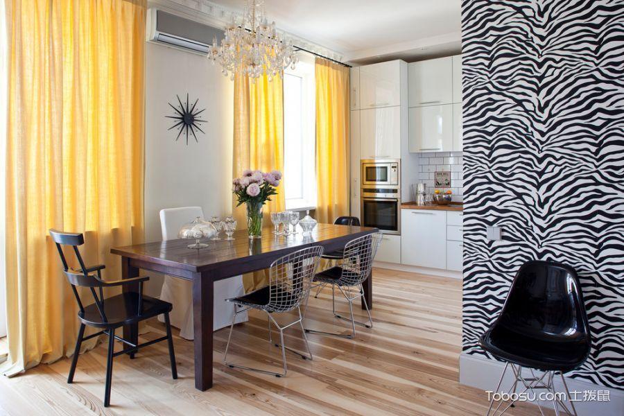 厨房咖啡色餐桌混搭风格装潢效果图